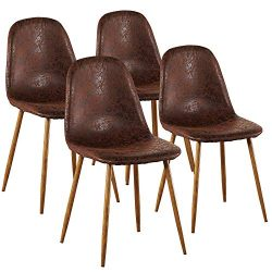 VECELO Dining Side Chairs, Durable PU Cushion Seat Back Sturdy Metal Legs, Dining/Living Room Ch ...