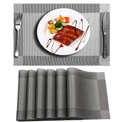 Niskite PL01 Dinner Placemats For Dining Table, 18 X 12 INCH, Silver