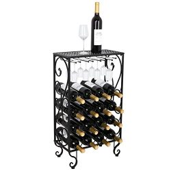 Smartxchoices 16 Bottle Wine Rack Tabletop with Glass Holder, Table Top with Glass Hanger Free S ...