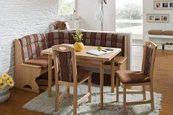 German Furniture Warehouse Breakfast Nook Complete Upholstery Corner Bench Luzern Fabric Multi C ...