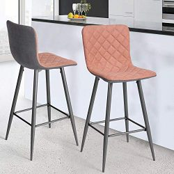 Bar stools Set of 2, Kitchen Side Chair Set with Soft Fabric Cushion and Back for Dining Room