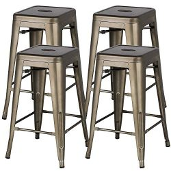 """Yaheetech Metal Bar Stools 24"""" Counter Height Barstools High Backless Stackable Metal Chai ..."""