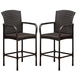 COSTWAY Rattan Wicker Bar Stool, Outdoor Backyard Chair Patio Furniture with Armrest Rattan Wick ...