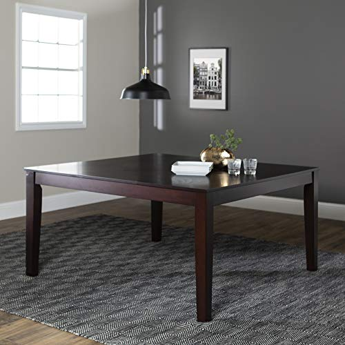"WE Furniture Kitchen Square Wood Dining Table, 60"" Espresso"