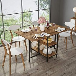 Folding Dining Table, Tribesigns Expandable Dining Table with Double Drop Leaf, Extra 2-Tier Sto ...
