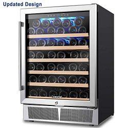 AMZCHEF 24″ Wine Cooler, Wine Refrigerator, Built-in or Freestanding, 52 Bottle Wine Refri ...