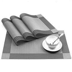 U'Artlines 18″x12″ PVC Placemats for Dining Table Stain-Resistant Woven Vinyl  ...