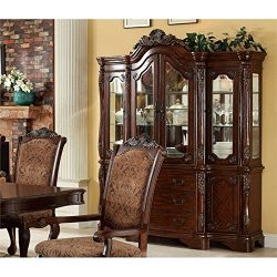 HOMES: Inside + Out Ivana Traditional Style Window Cabinet Hutch Buffet, Antique Cherry