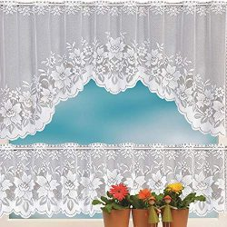 Hot Sale!DEESEE(TM)2PCS Lace Coffee Cafe Window Tier Curtain Set Kitchen Dining Room Home Decor  ...