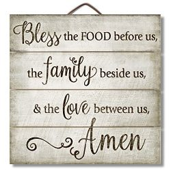 "Highland Graphics 12″ Inspirational Sign ""Bless the Food Before Us…"" Fam ..."