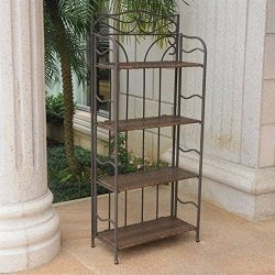 International Caravan 608226 Wicker Resin 4-Tier Baker Rack, Antique Brown