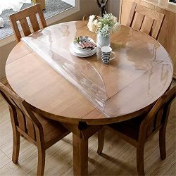 OstepDecor 1.5mm Thick Crystal Clear 48 Inches Round Table Protector for Dining Room Table, Wate ...