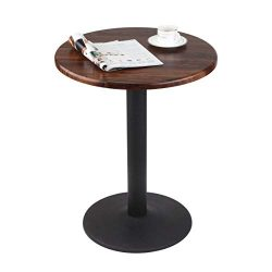 "JIWU 29.5"" Tall Handcrafted Round Coffee Table Small Bar or Pub Table for Home Kitchen Bistro"