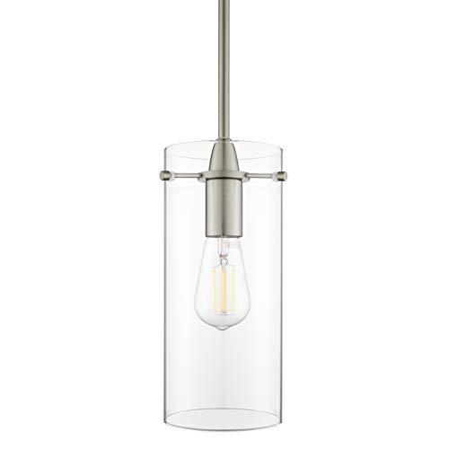 Effimero Large Hanging Pendant Light   Brushed Nickel Kitchen Island Light, Clear Glass Shade LL ...