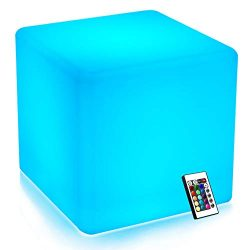 Mr.Go 14-inch 35cm Rechargeable LED Color Cube Light Seat W/Remote Control Magic RGB Color Chang ...
