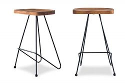 Edloe Finch ((Set of 2) Madina Modern Bar Counter Stools Chairs Iron Base, Solid Sheesham Wood,  ...