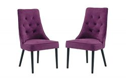 Classic 2 Piece Tufted Button Brush Microfiber Dining Chair (Purple)