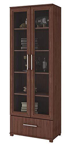 Manhattan Comfort 75AMC164 Serra Modern Storage Bookcase with Glass Door, Nut Brown