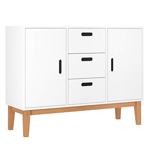 HOMECHO Floor Buffet Sideboard Storage Cabinet Freestanding Console Table Cupboard Chest 2 Door, ...