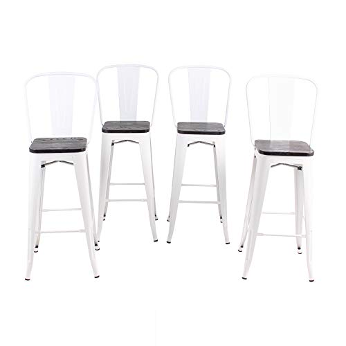 Buschman Set of 4 White Wooden Seat 24 Inch Counter Height Metal Bar Stools with High Back, Indo ...
