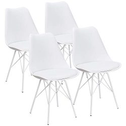 JUMMICO Kitchen Dining Chair with Soft Padded Mid Century Shell Side Chair Armless Tulip Chair S ...