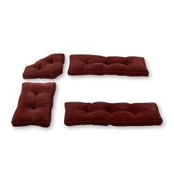 MISC 4pc Red Burgundy Dining Nook Cushions Set Breakfast Nook Chair Pads Tufted Thick Solid Tres ...