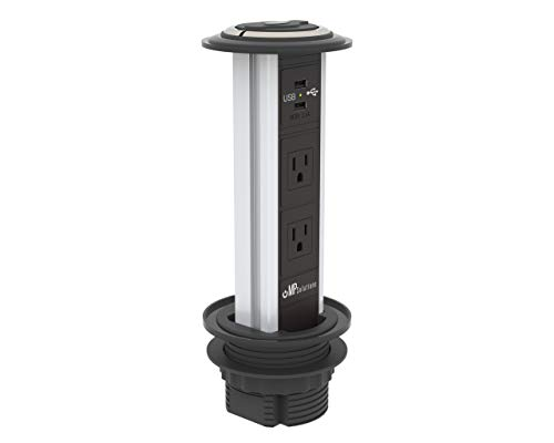 Waterproof Pop Pull Up Power Point Outlet with USB Charging (US Socket) Retractable Hidden Reces ...