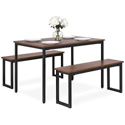 Best Choice Products 3-Piece 4ft Modern Rectangular Soho Dining Table Set w/ 2 Benches, Wood Fin ...