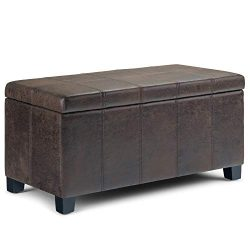 Simpli Home AXCOT-223-DBR Dover 36 inch Wide Contemporary Storage Ottoman in Distressed Brown Fa ...