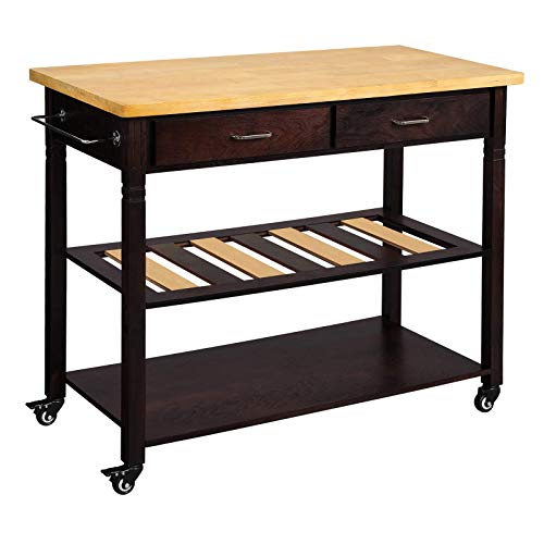 VASAGLE Kitchen Island on Wheels, 3-Tier Rolling Kitchen Cart with 2 Drawers and 1 Towel Rack, U ...