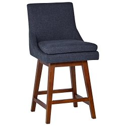 Stone & Beam Alaina Modern Fabric Swivel Kitchen Counter Bar Stool with Back,  38.5 Inch Hei ...