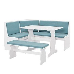 Riverbay Furniture Breakfast Nook Set in Capri Blue