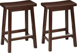 AmazonBasics Classic Solid Wood Saddle-Seat Kitchen Counter Stool with Foot Plate 24 Inch, Walnu ...