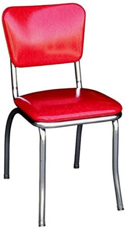 Richardson Seating 4110CIR Retro Chrome Kitchen Chair with 1″ Pulled Seat, Cracked Ice Red