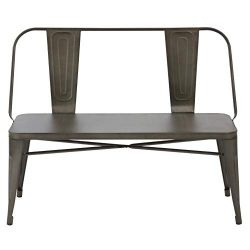 BTEXPERT AM5061CC Industrial Dining Chair Steel Frame Bench, Bronze Metal, 5061CC