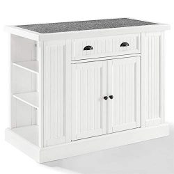 Crosley Furniture Seaside Granite Top Kitchen Island in White and Gray