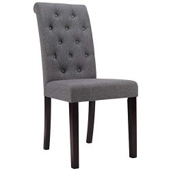 Zenith Classic Dining Chair Tufted Imitation Linen Fabric Solid Wood Leg (Set of 2) (Gray)