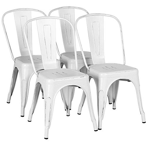 Yaheetech Metal Dining Chairs Indoor/Outdoor Stackable Side Chairs Coffee Chair Distressed White ...