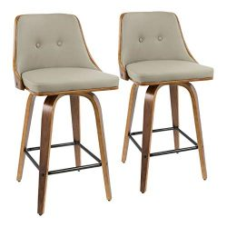 LumiSource 36.5 in. Mid-Century Modern Counter Stool – Set of 2