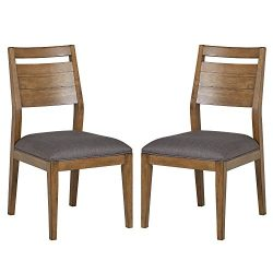 Stone & Beam Hughes Casual Wood Dining Room Kitchen Chairs, Set of 2, Grey