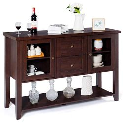 Giantex Buffet Cabinet Sideboard with Two Drawers and Glass Doors Console Table with Bottom Shel ...