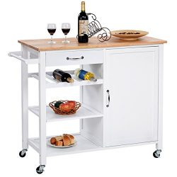 Giantex Kitchen Trolley Cart w/Wheels Rolling Storage Cabinet Wooden Table Multi-Function Island ...