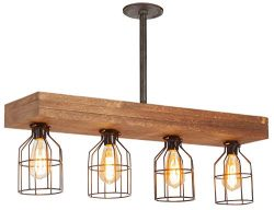 Farmhouse Lighting Triple Wood Beam Rustic Decor Chandelier Light -Rustic Lighting for Kitchen I ...