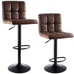 SUPERJARE Set of 2 Adjustable Bar Stools, Swivel Barstool Chairs with Back, Pub Kitchen Counter  ...