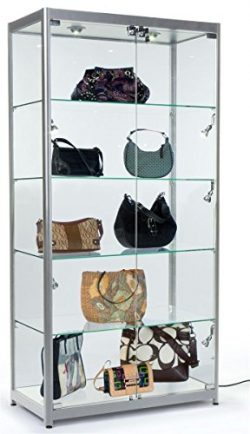 Displays2go Retail Display Cabinets with Glass Shelving, LED Light, MDF Laminate & Aluminum  ...