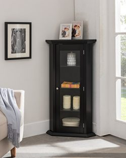 Kings Brand Furniture – Corner Curio Storage Cabinet with Glass Door, Black Finish