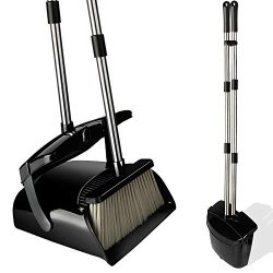 Broom and Dustpan Set with Lid, Stainless Steel Long Handle and Light Weight Lobby Broom Combo,  ...