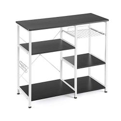 Mr IRONSTONE Kitchen Baker's Rack Utility Storage Shelf Microwave Stand 3-Tier+3-Tier Tabl ...