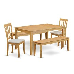 East West Furniture CAAN5C-OAK-C 5 Piece Breakfast Nook Table and 2 Chairs Plus 2 Wooden Benches Set