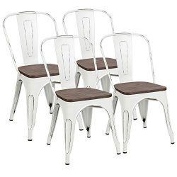 Metal Dining Chairs with Wood Seat, Tolix Style Indoor-Outdoor Stackable Industrial Chair with B ...